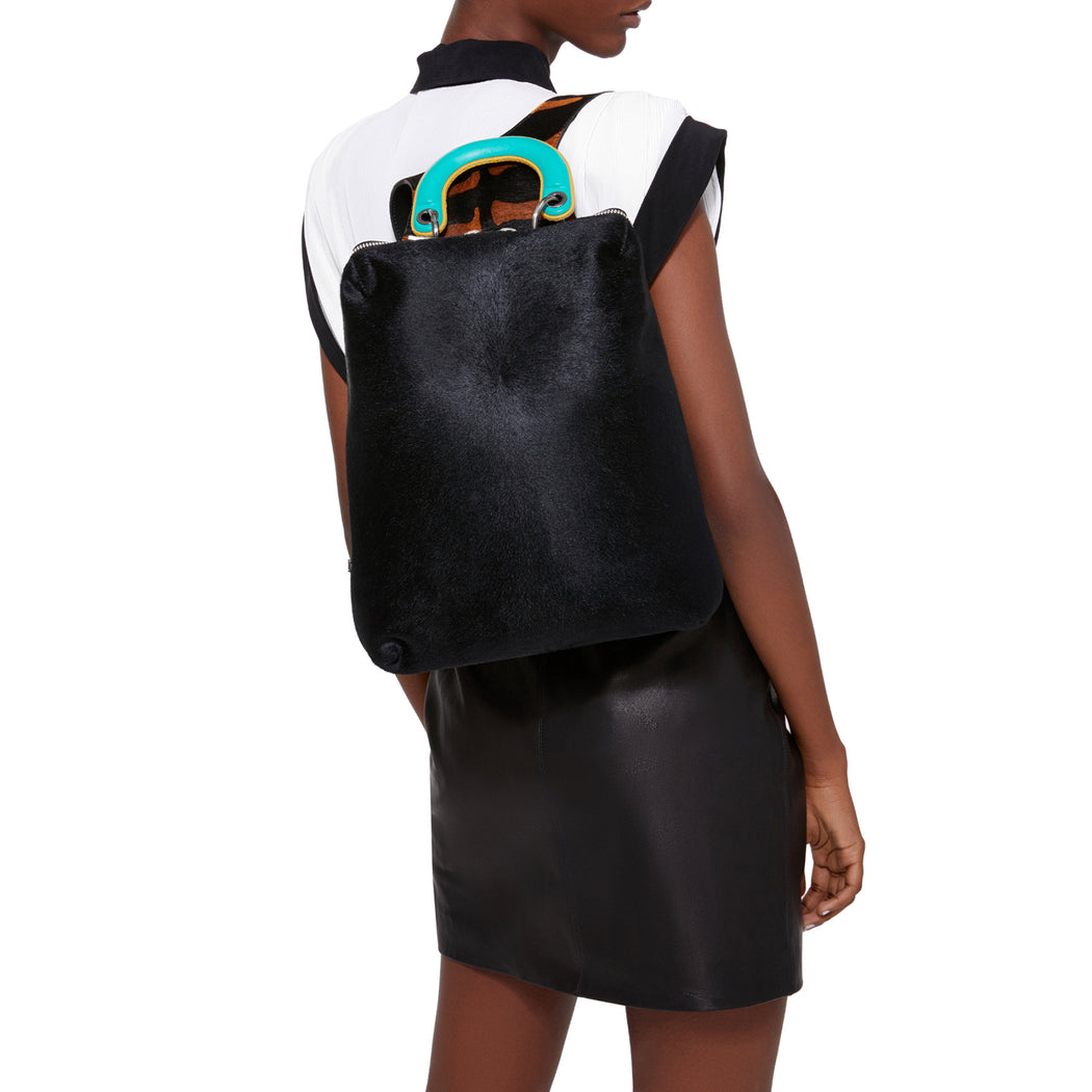 Racer Haircalf: Women's Designer Backpack in Black Leather