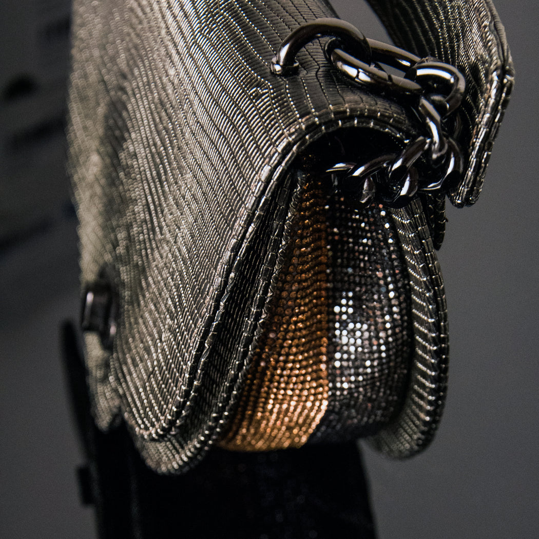 Womens designer handbag: Chain handbag with metallic lizard embossed leather and crystals