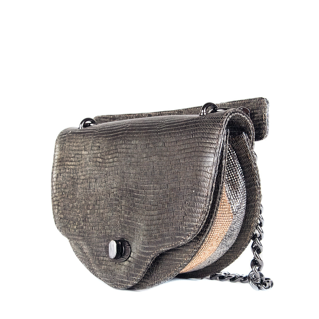 Luxury crossbody bag: Chain handbag with metallic lizard-embossed leather and crystal accent