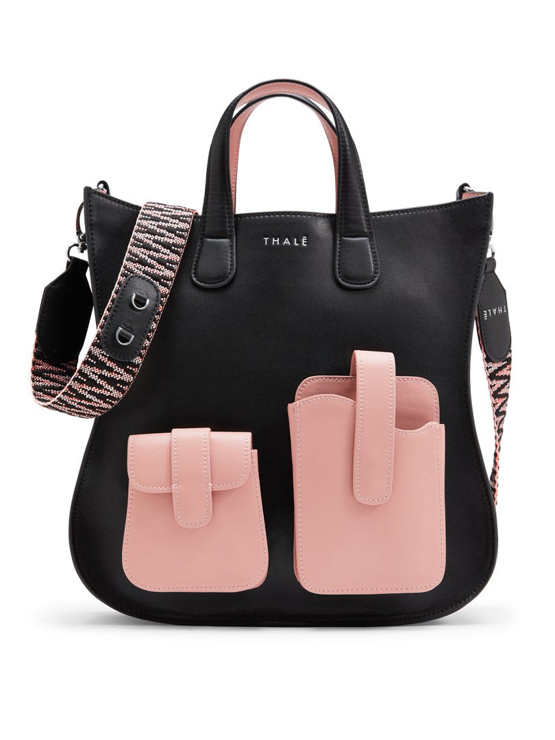 Designer tote bag in black & pink leather