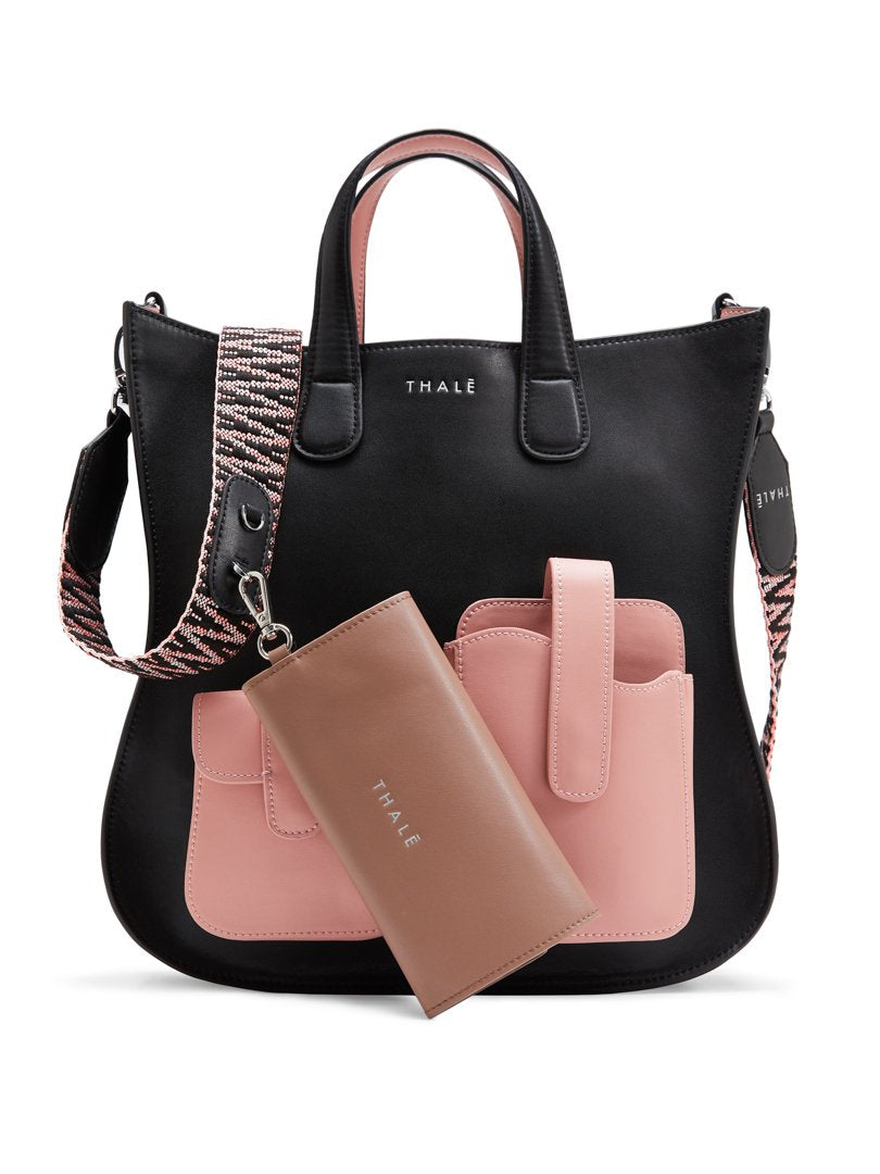 Black medium tote bag with pink pockets & beige detachable pouchette