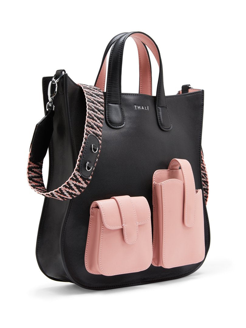 Best luxury tote bag: Medium size tote bag in black with pink accents