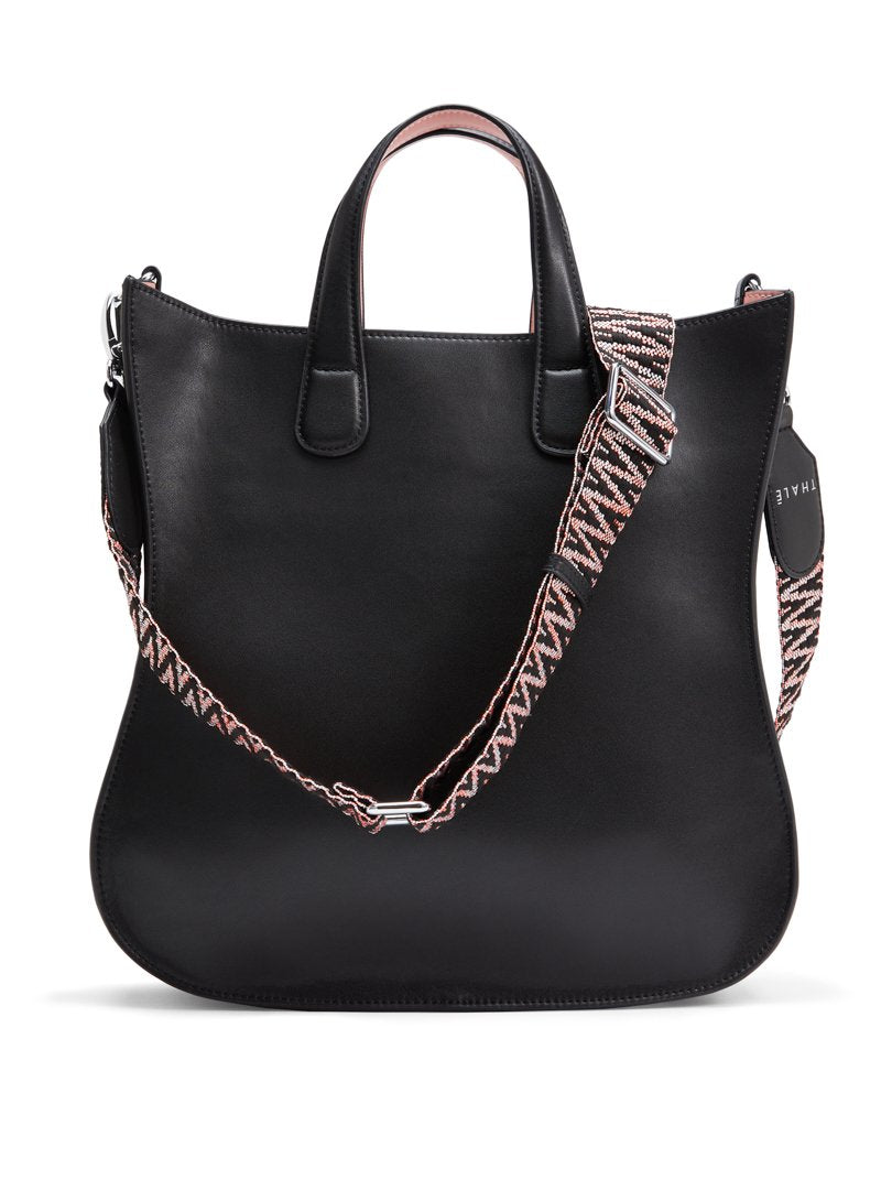 Medium tote: Black designer tote bag with shoulder strap