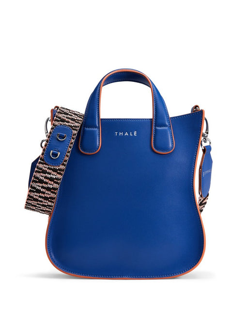 Designer tote: Small tote bag in blue leather