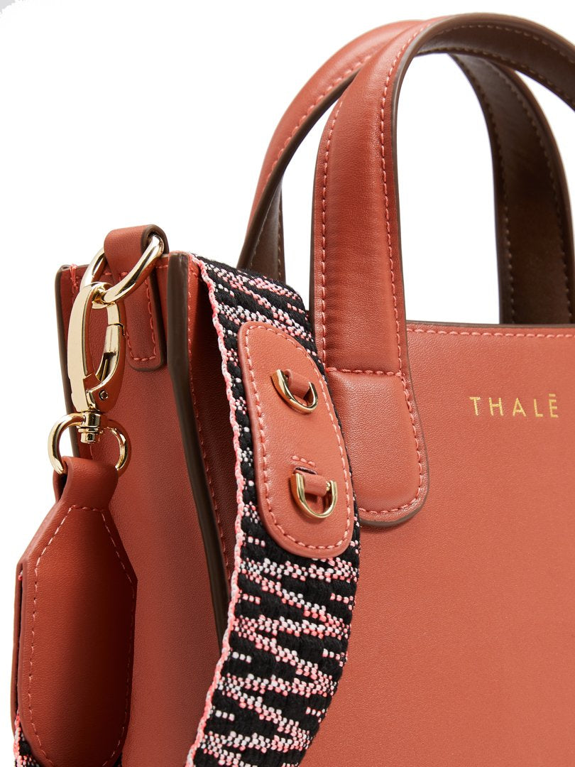 Luxury tote bag: Small tote handbag in orange leather