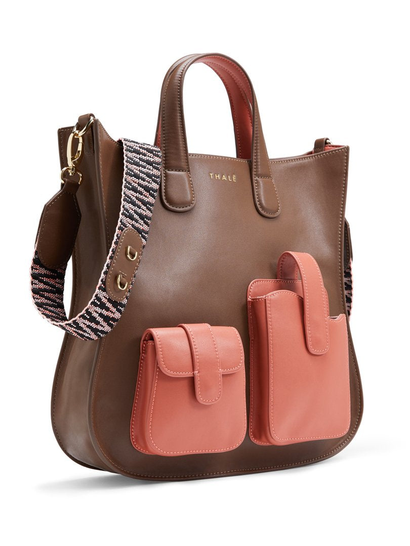 Medium tote bag in brown leather with pink outer pockets