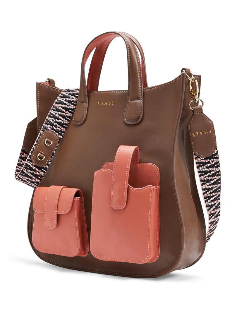 Best luxury tote bag for work, in brown and pink leather