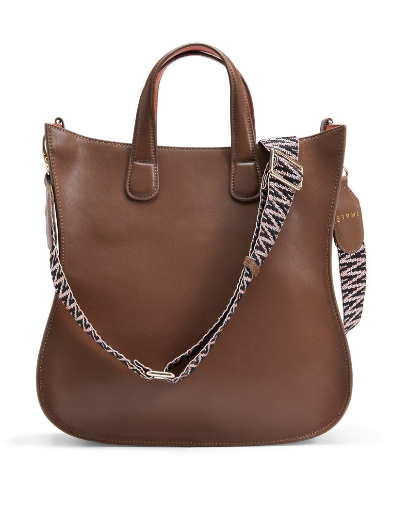 Designer tote bag for work: Brown leather medium tote bag