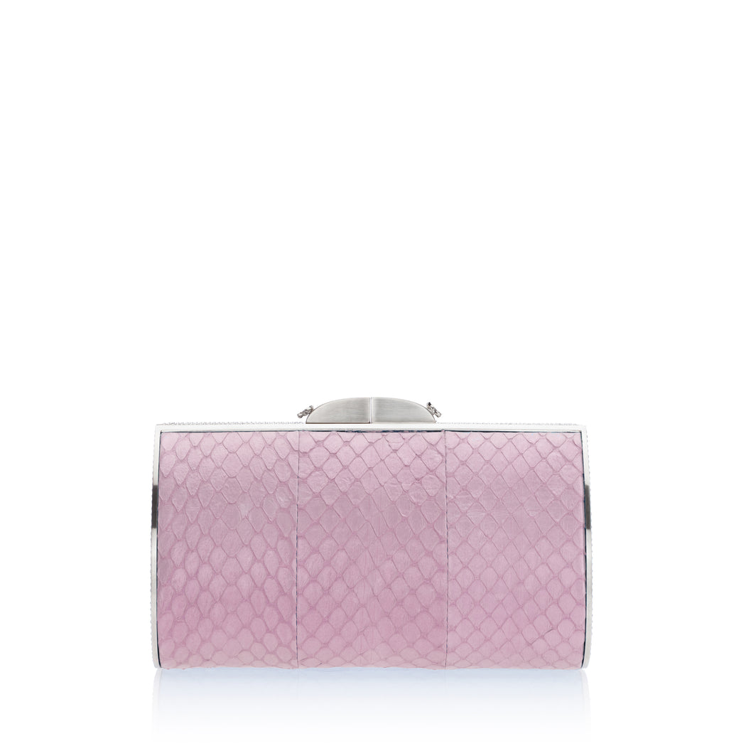 Talia Evening Clutch: Light Pink with Silver Accent