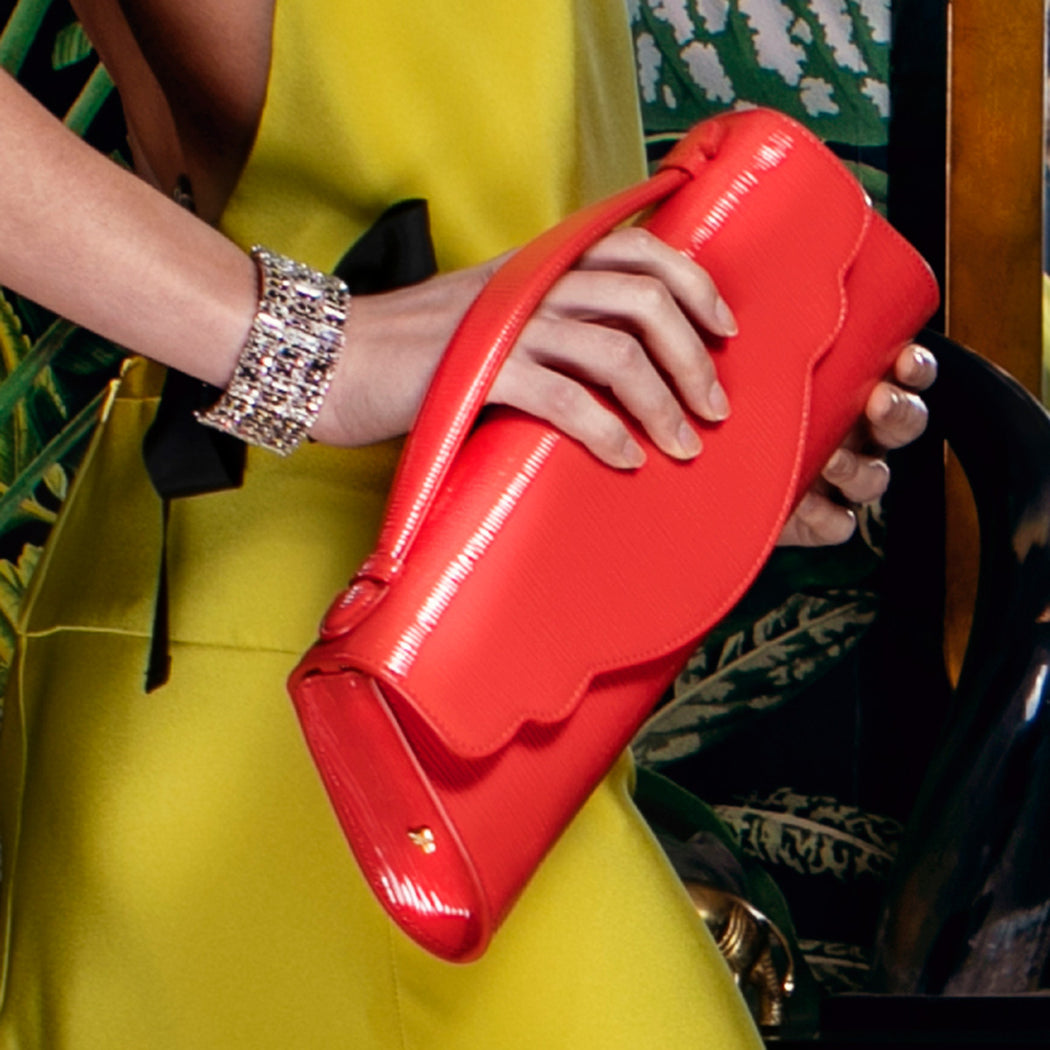 Audrey Clutch: Bamboo-Embossed Red Designer Evening Clutch Bag