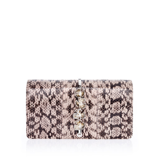 Snakeskin clutch: Designer clutch bag in nude and brown
