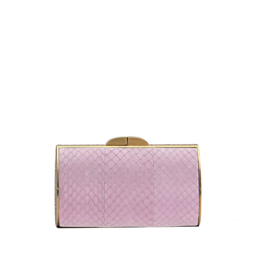 Talia Evening Clutch: Light Pink with Gold Accent