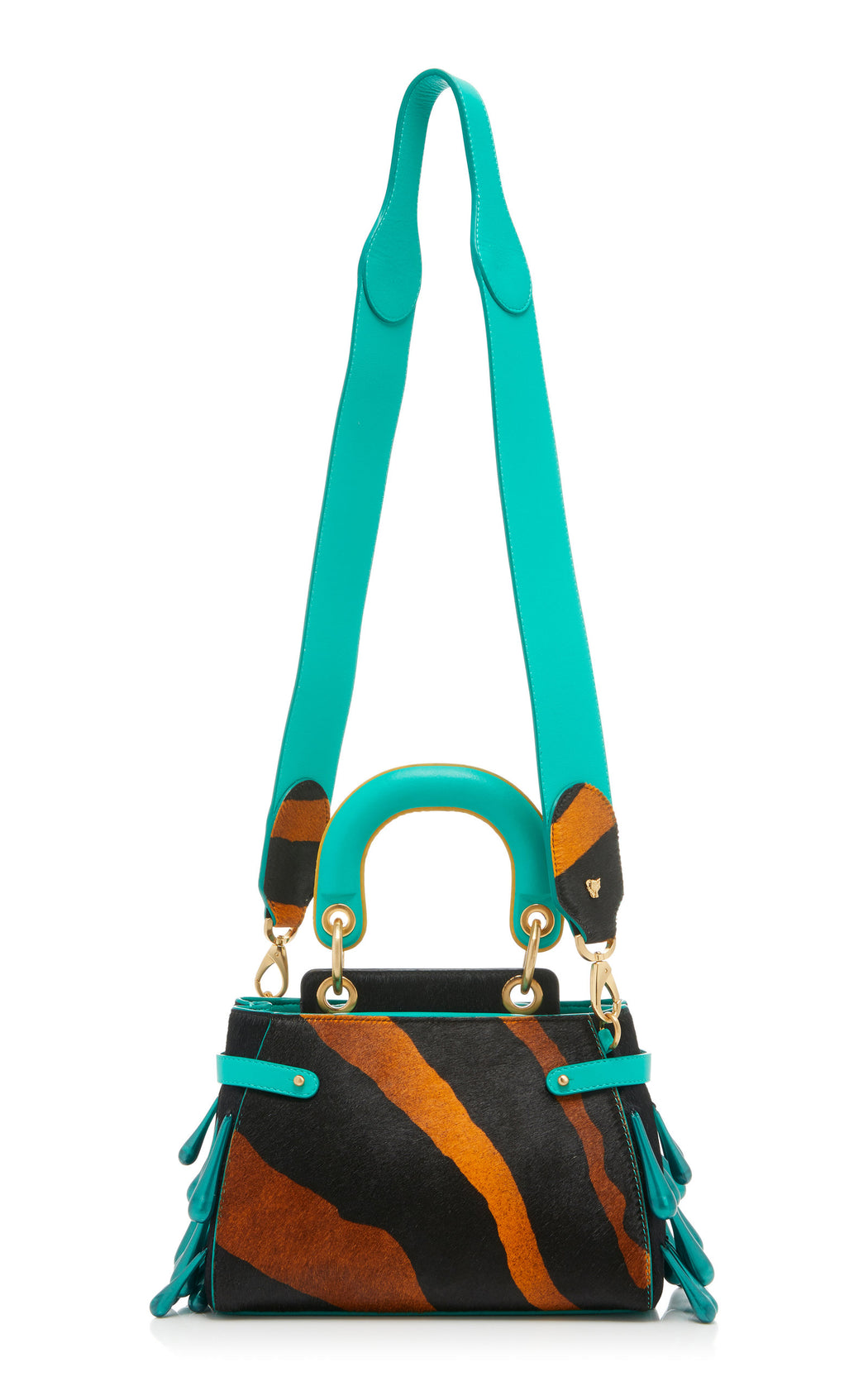 "A ladylike luxury frame bag in animal print cavallino with teal nappa leather that fits all the essentials. Comes with a detachable cross-body strap as shown and our special ""macaron"" top handle. The trapeze bag is embellished with pearlescent resin droplets."
