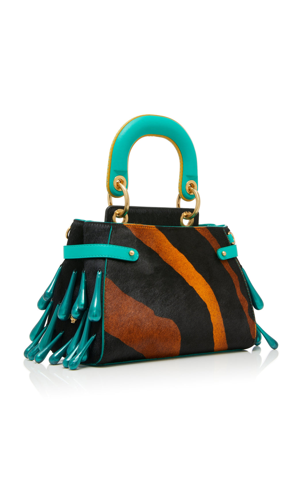 "A ladylike luxury frame bag in animal print cavallino with teal nappa leather that fits all the essentials. Comes with a detachable cross-body strap and our special ""macaron"" top handle. The trapeze bag is embellished with pearlescent resin droplets."