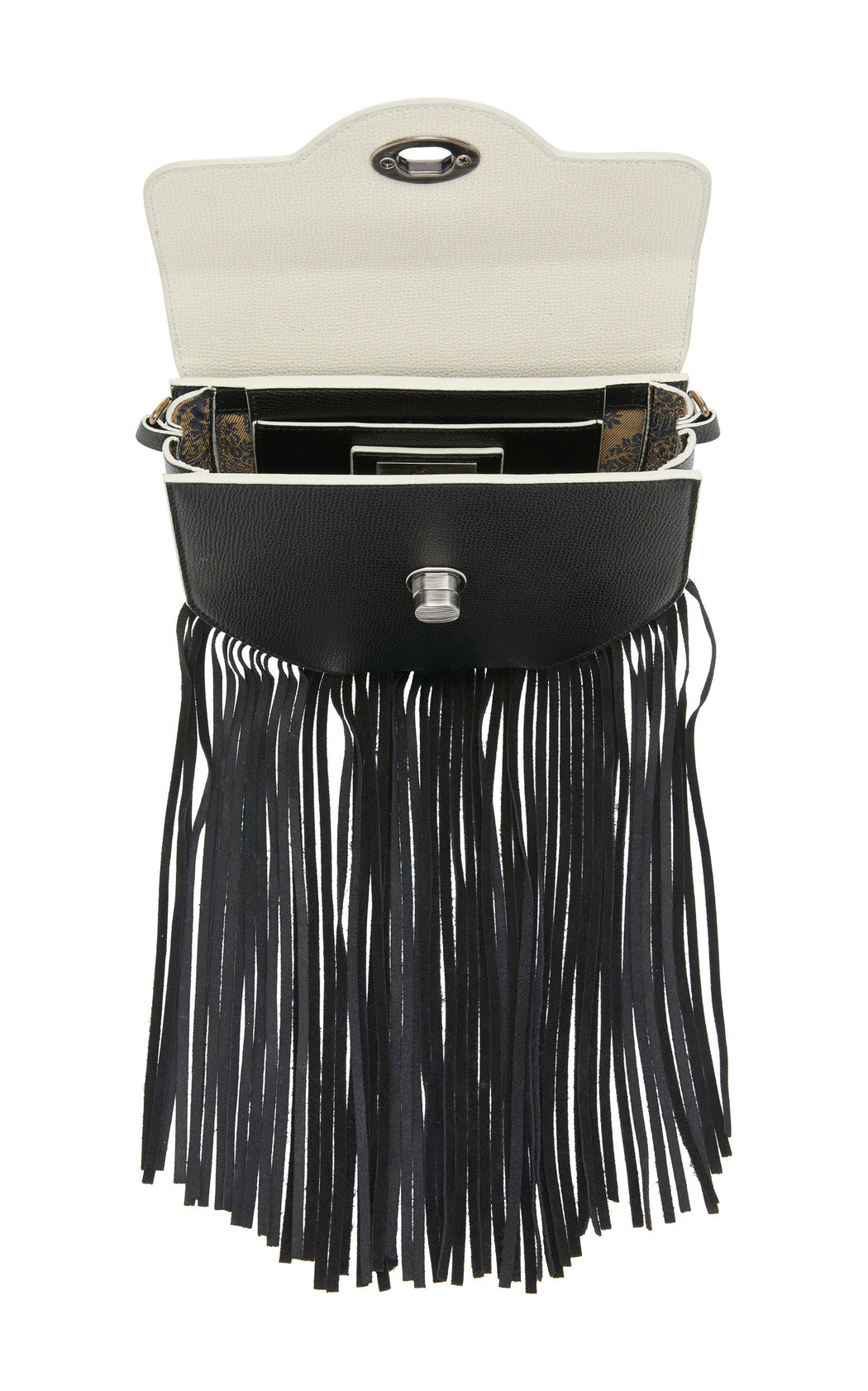 "The ultimate ""IT"" bag for convenience. The Hippie in black saffiano leather and black suede fringe can be worn as a luxury belt bag, over the shoulder, or as a luxury leather crossbody. This fun little bag works for every situation--from running errands to music festivals. Roomy interior with fun fringe, contrast edges and nickel turnlock details."