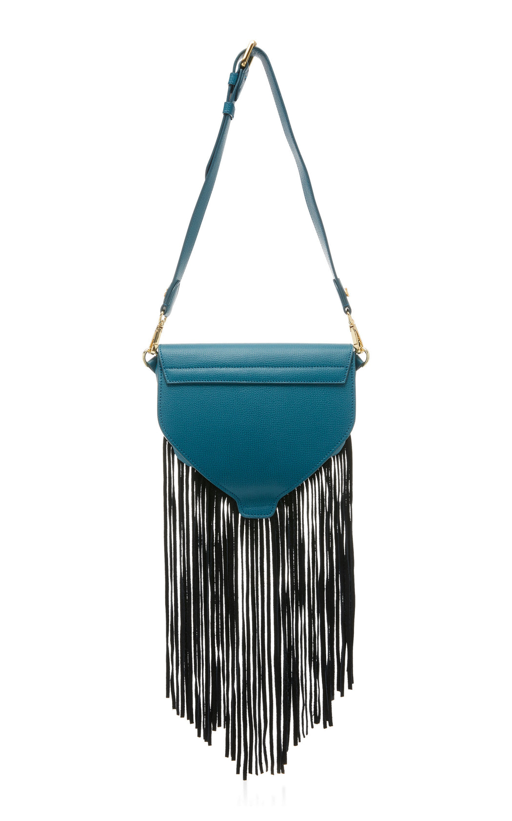 "The ultimate ""IT"" bag for convenience. The Hippie in teal saffiano leather and black suede fringe can be worn as a luxury belt bag, over the shoulder, or as a luxury leather crossbody. This fun little bag works for every situation--from running errands to music festivals. Roomy interior with fun fringe, contrast edges and nickel turnlock details."