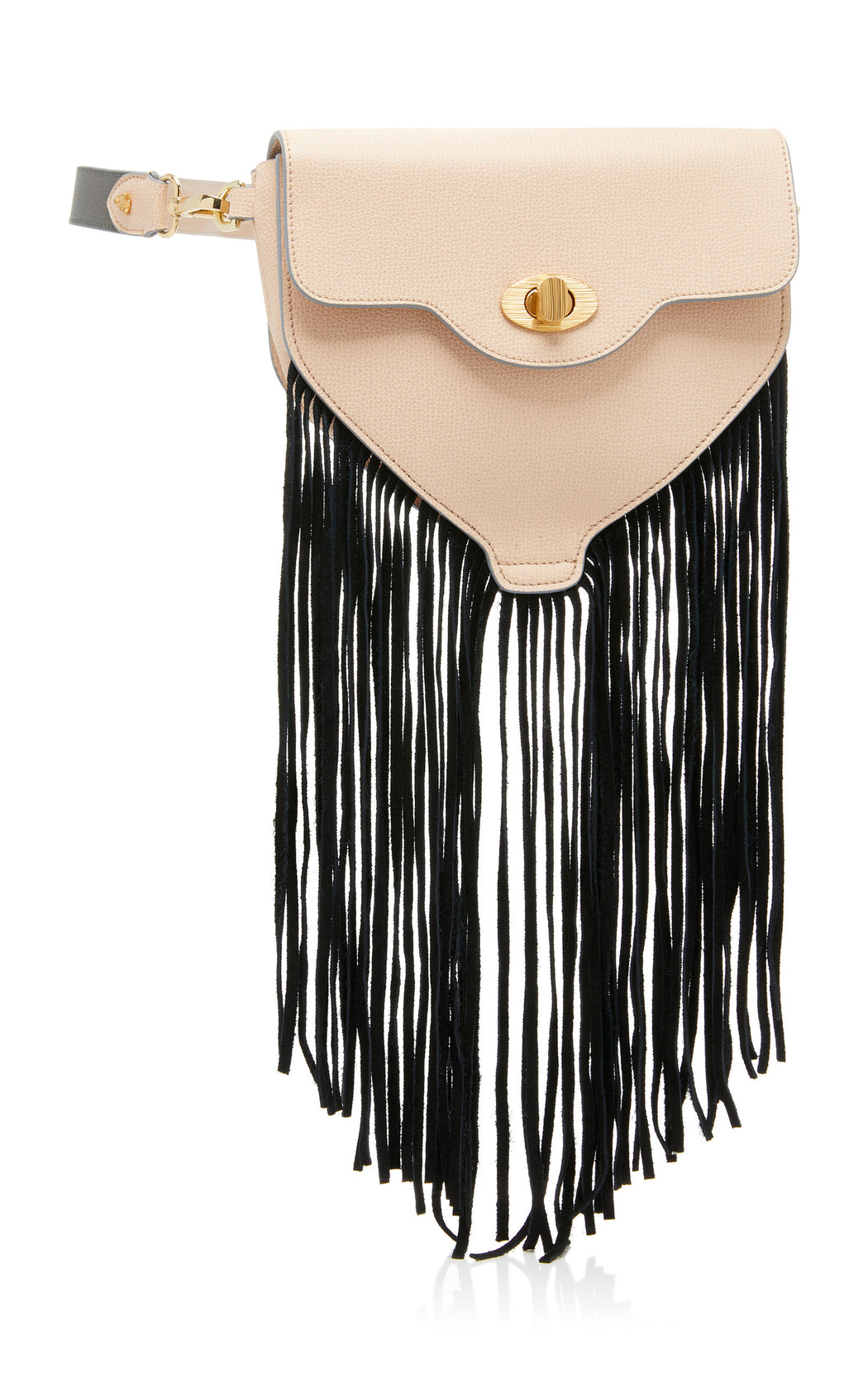 "The ultimate ""IT"" bag for convenience. The Hippie in nude saffiano leather and black suede fringe can be worn as a luxury belt bag, over the shoulder, or as a luxury leather crossbody. This fun little bag works for every situation--from running errands to music festivals. Roomy interior with fun fringe, contrast edges and nickel turnlock details."