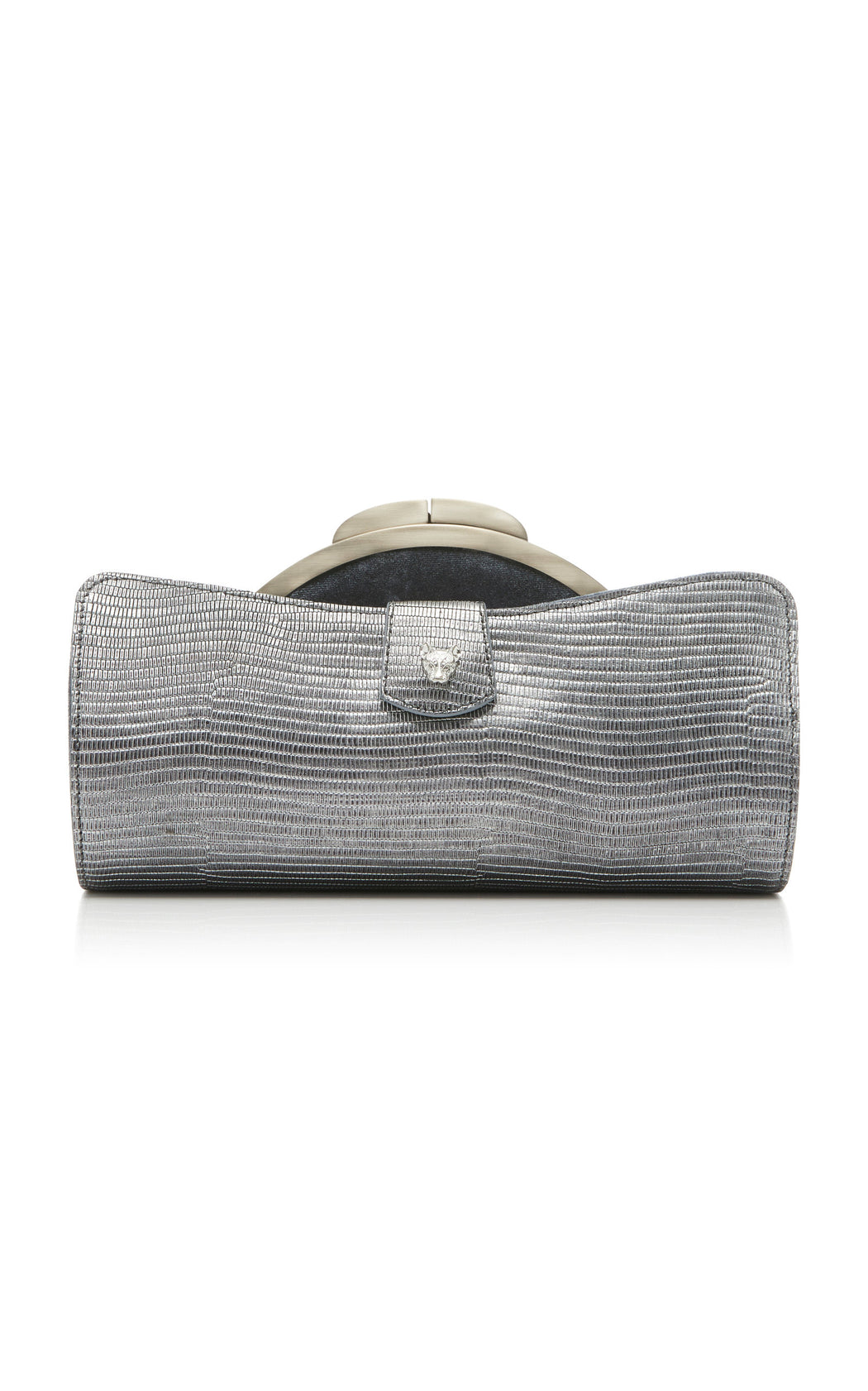 Two looks from one luxury handbag. Silver lizard-embossed calf leather outer layer reveals a rich gray velvet pouch with a gold-toned snap closure. Fits all size smart phones.