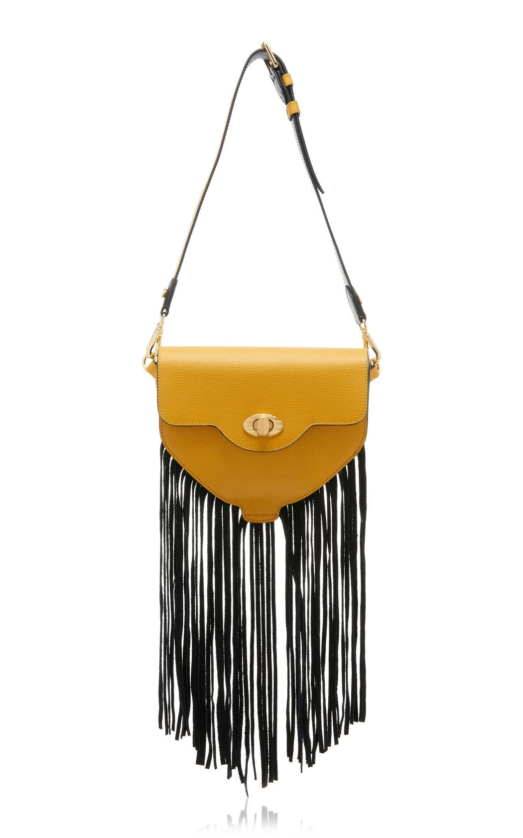 Fringed bag in yellow and black leather
