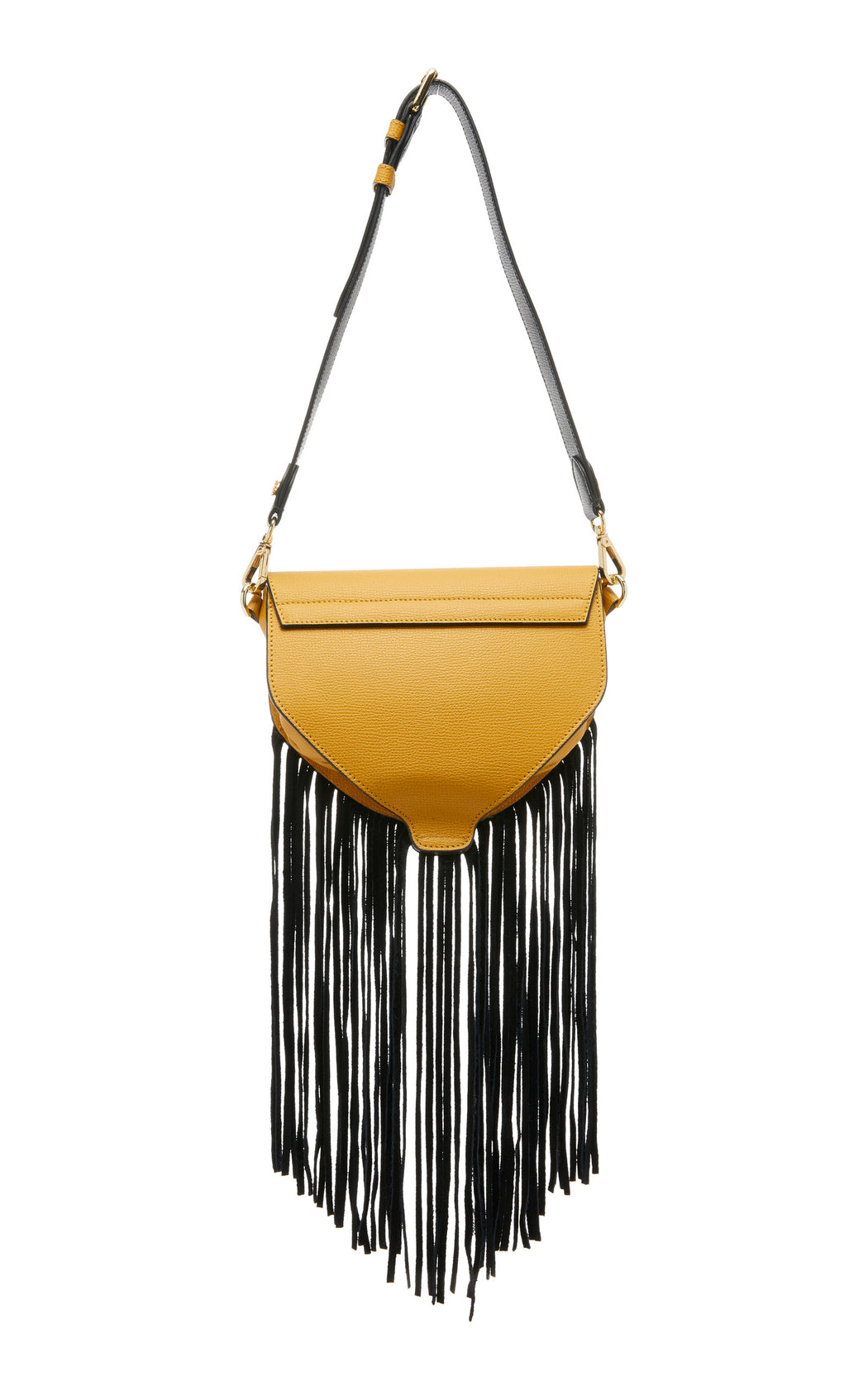 "The ultimate ""IT"" bag for convenience. The Hippie in yellow saffiano leather and black suede fringe can be worn as a luxury belt bag, over the shoulder, or as a luxury leather crossbody. This fun little bag works for every situation--from running errands to music festivals. Roomy interior with fun fringe, contrast edges and nickel turnlock details."
