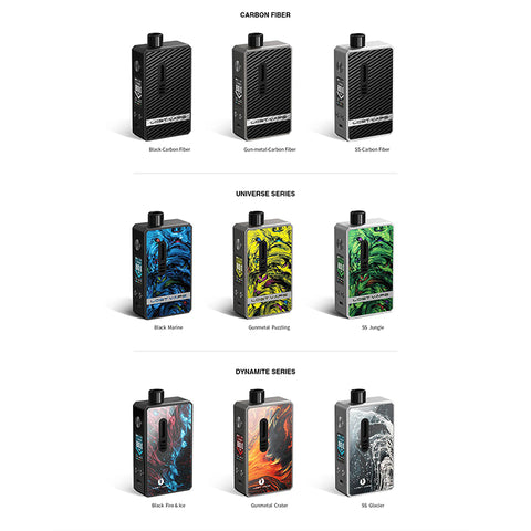 Lost Vape GEMINI Hybrid 80W Pod System, featuring a single 18650 battery, 5-80W range, and is compatible with the Ultra Boost Coil Series. Constructed from durable zinc-alloy, the GEMINI Hybrid Pod System offers a single 18650 battery bay to deliver wattage between the range of 5-80W throughout the day. Compatible with the Ultra Boost Coil Series, the Gemini has a removable pod that accepts 510 drip tips, hidden behind a magnetic door panel. Featuring a Color LED Screen, the GEMINI Hybrid Pod System offers
