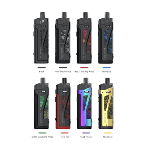 Discover the SMOK SCAR-P5 80W Pod Mod Kit, featuring a single 18650 battery, 1-80W range, and can deliver flavor from the proprietary pod using RPM Coils. Outfitted with a proprietary chipset within the zinc-alloy chassis, the SCAR-P5 features a single hgih amp 18650 battery, removable via bottom hinged battery bay. Delivering power in a 1-80W range, the SMOK SCAR-P5 can work with any of the coils from the renowned SMOK RPM Coil series, while granting the ability to refill the magnetically held pod at the t