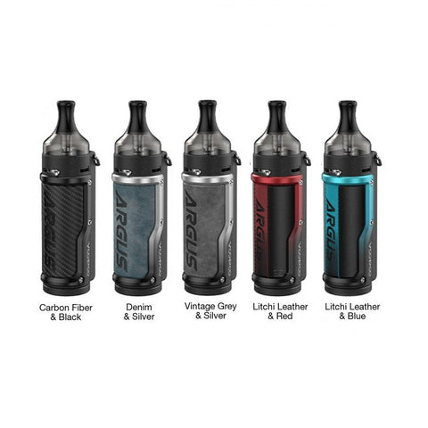 Voopoo Argus 40W Pod Mod Kit, featuring the GENE.TT Chipset, integrated 1500mAh battery, and compatibility with the PnP Coil Series. Constructed from durable zinc-alloy, the Voopoo Argus Pod Mod Kit accented with leather for a luxurious hand feel to accompany the durable chassis. With the intelligent GENE.TT Chipset at the helm, the Argus Pod Mod Kit can deliver superior vapor in a myriad of modes and has safeguards to prevent burning the coil. Operating off a dual ignition system, the Argus Pod Mod can del