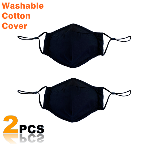 Reusable Cotton Face Mouth Cover - Washable Outer Cover with Slot for Filter (Filter Not Included) - 2 Pack