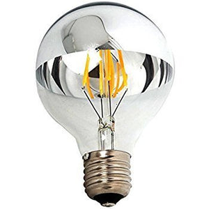 3 Pack - Modvera 60w Equivalent LED Half Chrome G25 6W Silver Bowl Globe Shape Medium (E26) Base Warm White 2700K, 630 Lumens, Dimmable LED Filament Vintage Bulbs.UL Listed RoHS Compliant