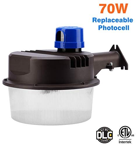 LED Area Light 70 Watts Dusk to Dawn Photocell Included, Perfect Yard Light or Barn Light, 9500 Lumens, 5000K, ETL Listed, DLC, 200W HID Light Equivalent,Replaceable Photocell