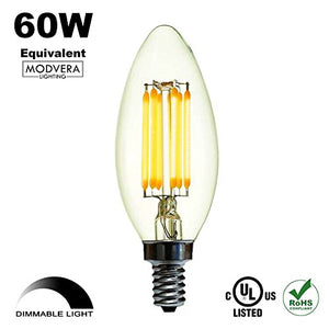 Modvera LED Candelabra Bulb Warm White E12 Base Filament Style Glass Bulb Dimmable on LED Dimmers ...