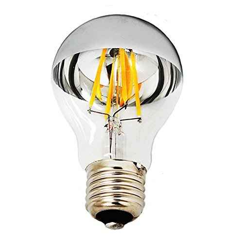 4 Pack - Modvera 60w Equivalent LED Half Chrome A19 6W Silver Bowl Globe Shape Medium (E26) Base Warm White 2700K, 630 Lumens, Dimmable LED Filament Vintage Bulbs.UL Listed RoHS Compliant