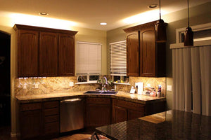 LED Under Cabinet Lighting, Dimmable Under Counter Kitchen Lighting, 5 Pack of 12 Inches cabinet light strips, 25W, 2500 Lumens, Warm White 3000K, On/Off Hand Waive Activated or Button (Both Included)