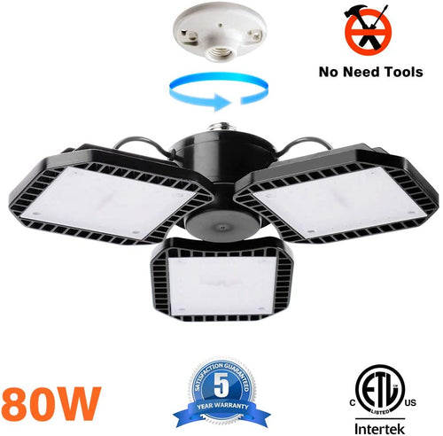 Bobcat Lighting 80W LED Garage Light, Adjustable LED Panels 10,400LM, 5000K Daylight Color, E26 Base, CRI>80, Garage LED Lights LED Light Bulbs, Workshop Light for Garage,ETL Certification