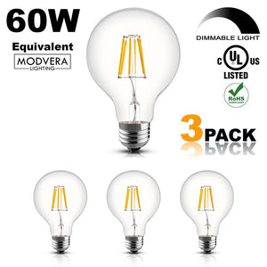 Modvera G25 LED Light Bulb Decorative Bathroom Lighting Globe Light Bulb 40 Watt Equivalent Uses Only 4 Watts Clear Glass ...