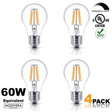 Modvera A19 LED Vintage Filament Bulb, Dimmable, 6W (60W Equivalent), 610 lumen, 2700K, Omnidirectional, E26 Base, IC Driver, CRI 80+, 120v, UL-Listed