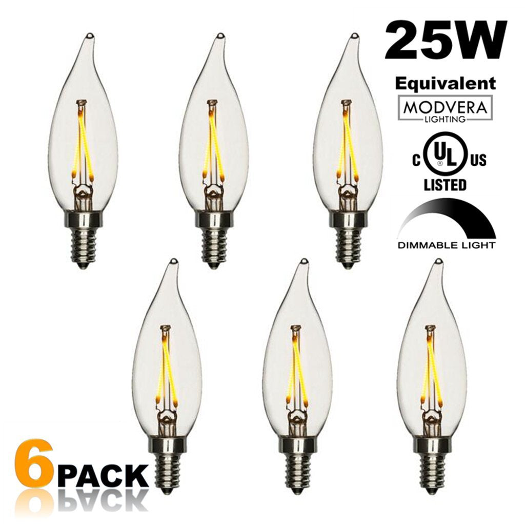 6 pack - Modvera 25W Equal LED Candelabra Bulb Bent Tip 2 Watts Warm White 2700K E12 Base Filament Style Chandelier Bulb. UL LISTED, RoHS Compliant