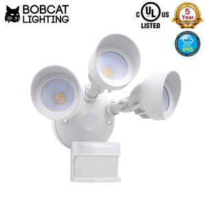 Bobcat LED Flood Lights 36 Watts 270 deg Motion Activated Outdoor Security Lights Three Head 3000 lumens 5000K White