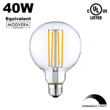 3 Pack - Modvera G25 LED Globe Light Bulb 40 Watt Equivalent Uses Only 4 Watts, 420LM, 2700K- Dimmable G80 Bulb, Clear Glass. UL Listed RoHS Compliant