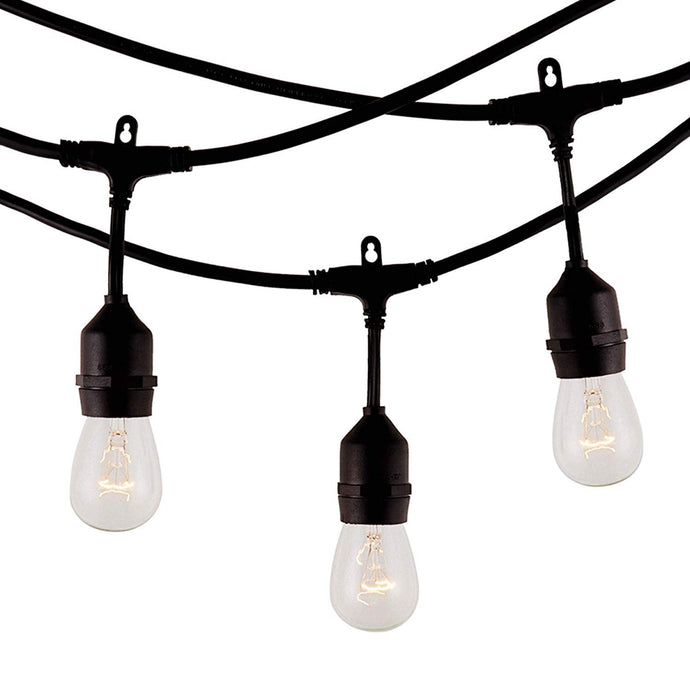 Modvera Outdoor String Light 48FT with 15 Sockets and Incandescent 11W S14 Bulbs, UL listed Waterproof - Heavy Duty Backyard Patio Lights Hanging Outdoor String Lights for Bistro Pergola Backyard Cafe