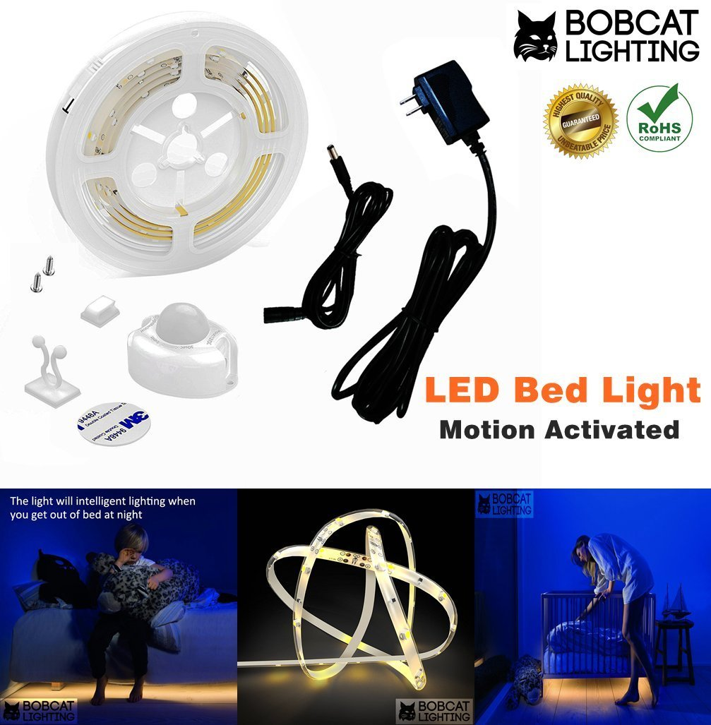 Bobcat LED Motion Activated Sensor Bed Light Flexible Strip Night Light Kit Soft Glow in the Dark Illumination with Automatic Off