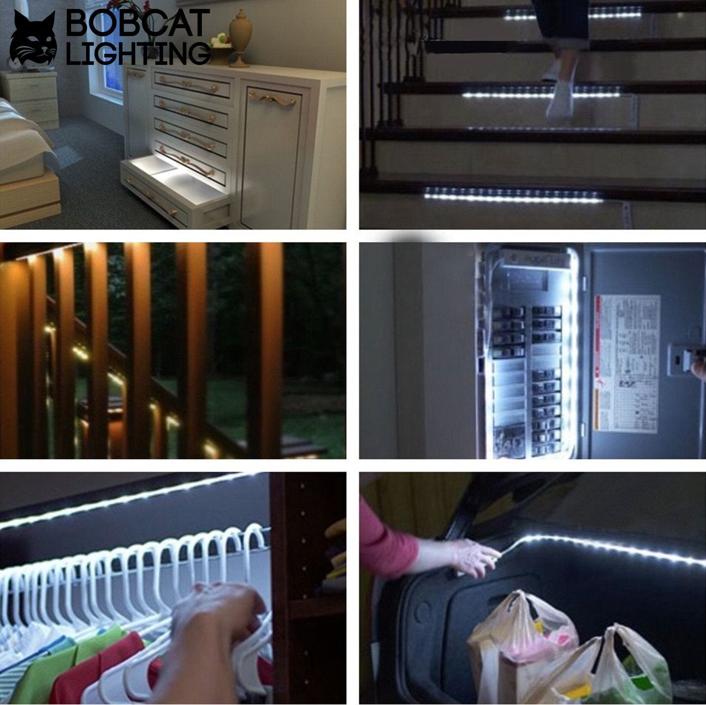 ... Motion Activated LED Strip Lighting For Closet Or Under Cabinet    Battery Powered Motion Sensing Stick ...