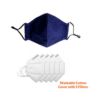 Reusable Face Mask Cover with Five Pack of Filters - Washable Outer Cotton Cover with internal Replaceable Filter with Nose Bridge Wire