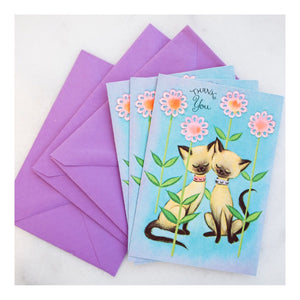 """Vintage Siamese"" greeting card"