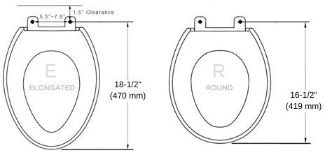 diagram of round toilet and elongated toilet shapes with measurements