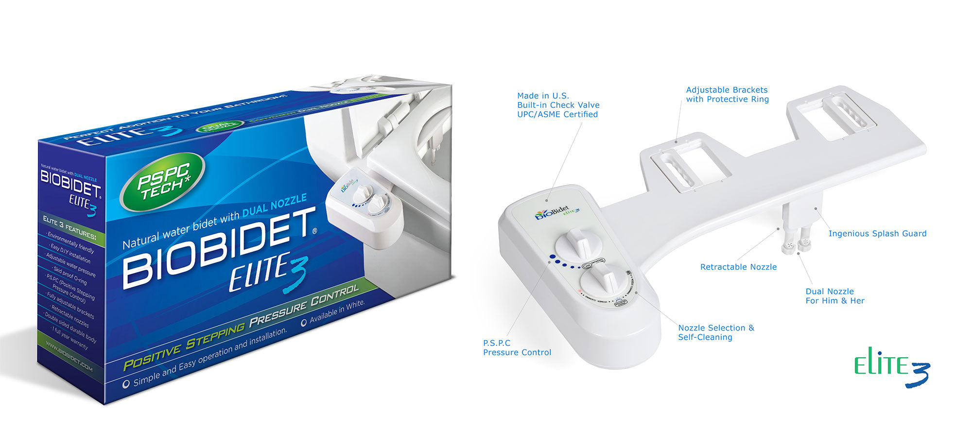 Elite3 Bidet Toilet Attachment With Dual Nozzle Bio Bidet