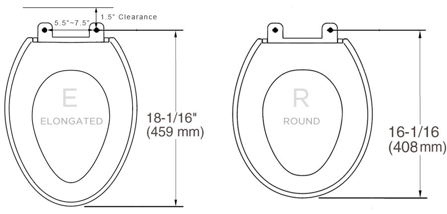 uk toilet seat sizes.  Seat Hinge To The Very Front Of Toilet Bowl That Measurement Will Be About 16 1 2 Inches If Is Round And 18 Your Toilet Types Sizes Bio Bidet