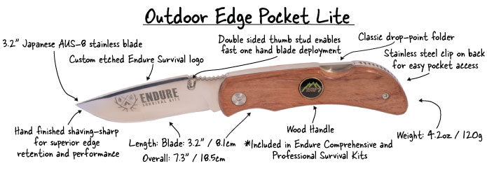 Outdoor Edge Pocket Lite with Wood Handle | Endure Survival Kits