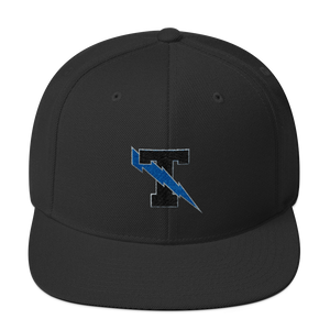 Thunder T with lightning bolt embroidered black snapback hat