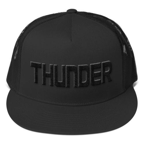 Black THUNDER 3D Puffy Embroidered Trucker Hat